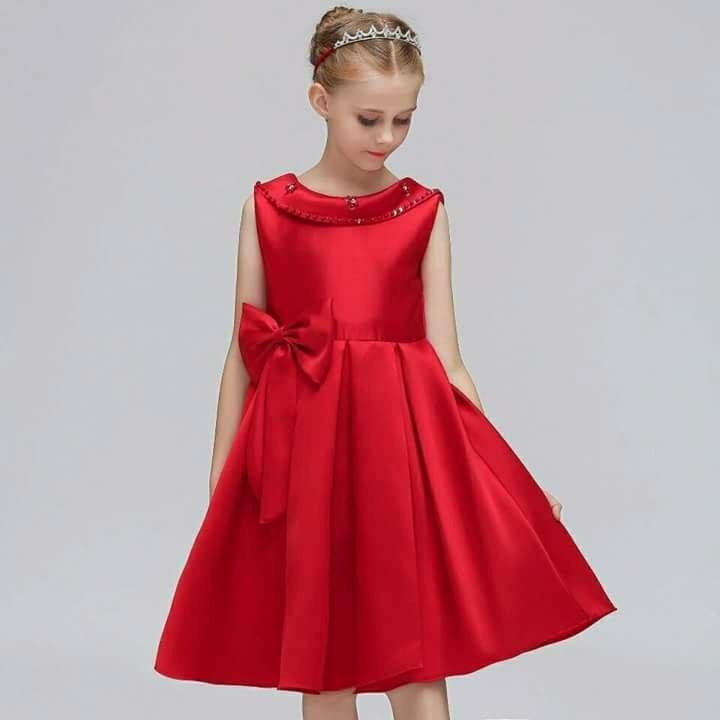 Elegante Vestido Rojo Fiesta Para Niña