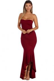 Elegante Vestido Straple Largo Y Entallado Sexy Diseño