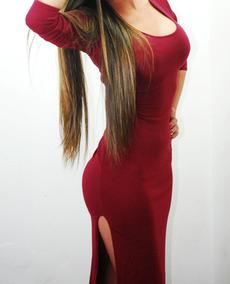 a7901f0913 Elegante Vestido Vinotinto Deportivo Algodón Ajustado Mujer