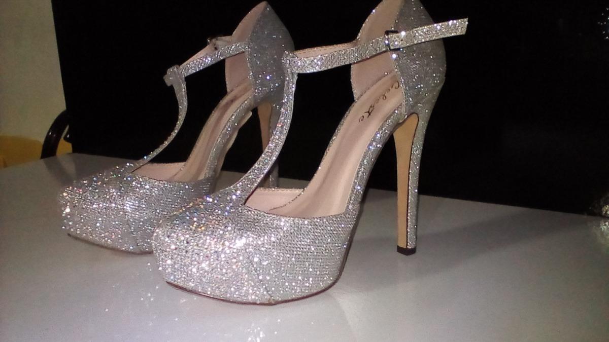 nueva estilos 0ba6b 55e6e Elegantes Zapatos Plateados Con Pedreria