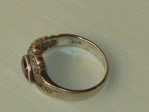 elegante,soberbo anel vintage em prata/ametista,itália,déc60