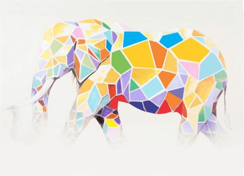 elephant cuadro al oleo