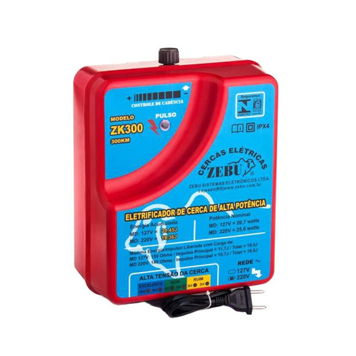 eletrificador cerca elétrica rural zk300 6.500 metros - zebu
