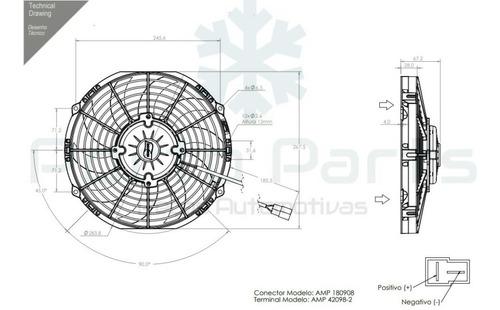 eletro ventilador ventoinha 10 poleg 12v ip68 118w aspirante