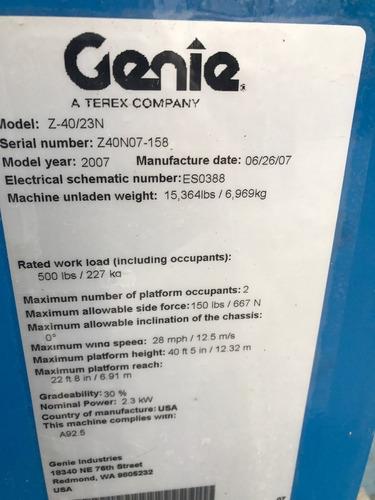 elevador articulado genie z40/23n mod 2007 para 15 mts