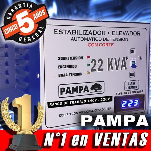 elevador de tensión automático 22 kva rango 140v pampa