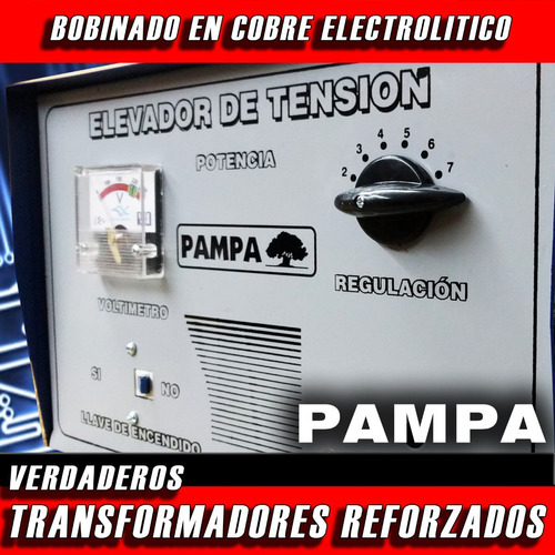 elevador de tensión manual 14 kva pampa rango de  90v a 220v