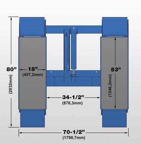 elevador de vehículos mod, baja altura  cauchos y frenos