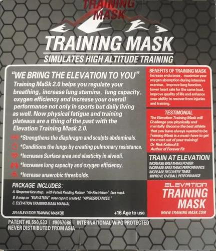 elevation training mask 2.0 t= m-l/mascara de entrenamiento