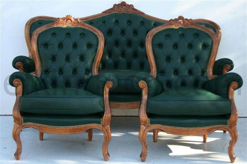 el_kin * juego de living estilo colonial - sofa y 2 sillones