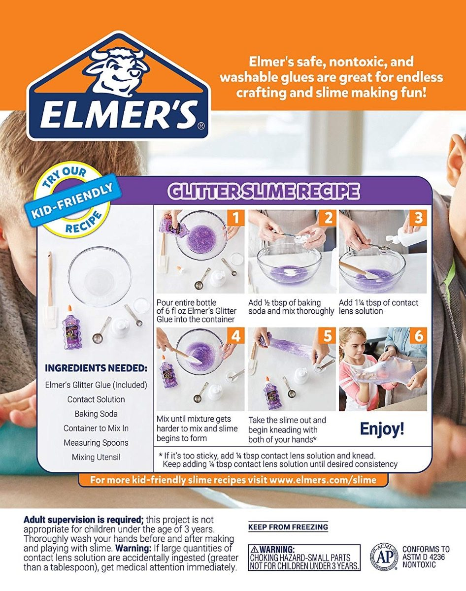 Elmer's Kit Slime Glue Starter 4 Clear Glitter School Cola