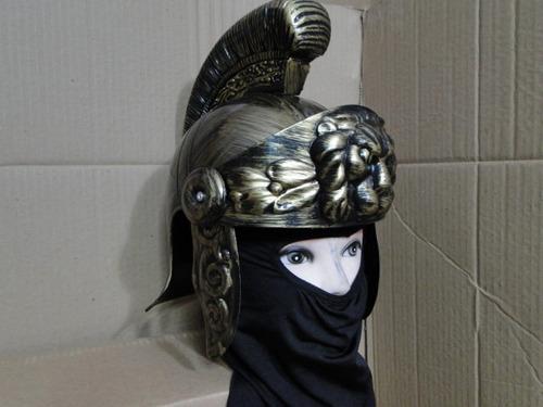 elmo leão capacete legionario altura 34cm com touca  preta