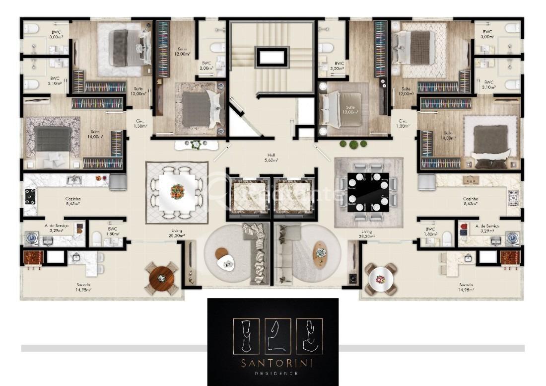 em porto belo apartamento com 3 suítes - 912