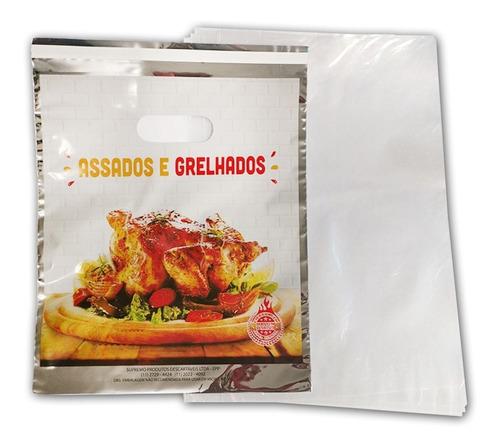 embalagem térmica saco frango/ carne assados grelhados c/50