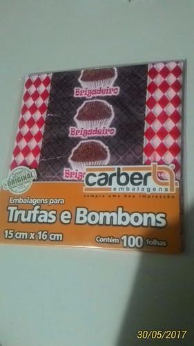 embalagens para trufa carber 15x16cm kit c/100 unidades! fj