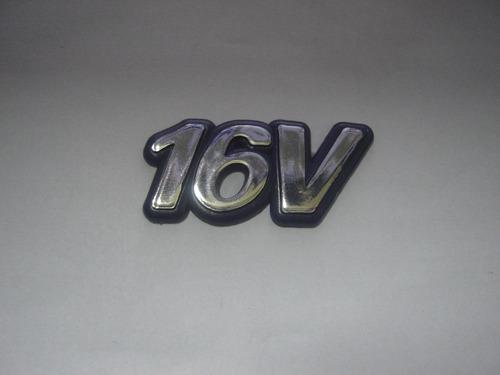 emblem cromado c/ fundo azul 16v p/ palio 96/00 - bre