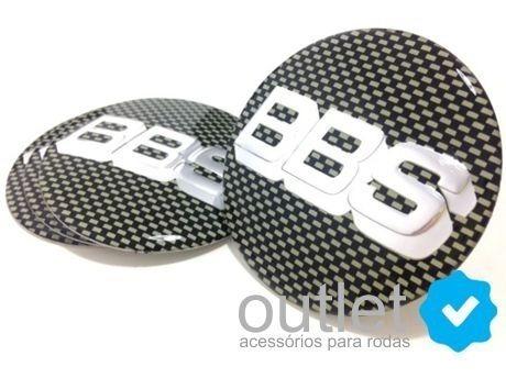 emblema adesivo calota bbs c/ preto cromado (51mm) jg. 4pç