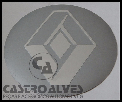 emblema adesivo calota miolo roda renault prata 90mm / 9cm
