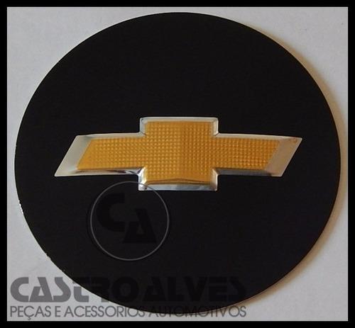 emblema adesivo calota miolo tampa roda gm 65mm/6,5cm preto