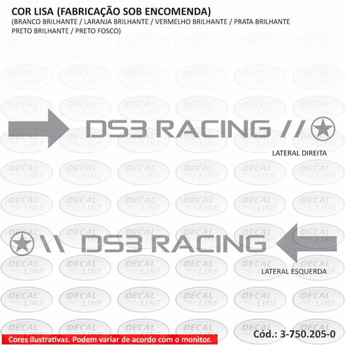 emblema adesivo citroen ds3 racing - capô