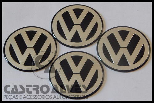 emblema adesivo volkswagen vw calota roda 117mm prata - 1 pç