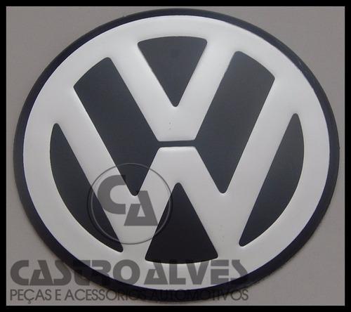emblema adesivo volkswagen vw calota roda 55mm prata - 1 pç
