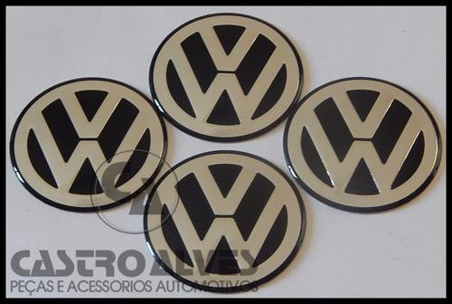 emblema adesivo volkswagen vw calota roda 58mm prata - 1 pç