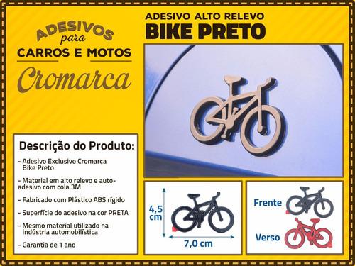 emblema alto relevo 3d 3m auto adesivo bicicleta preto