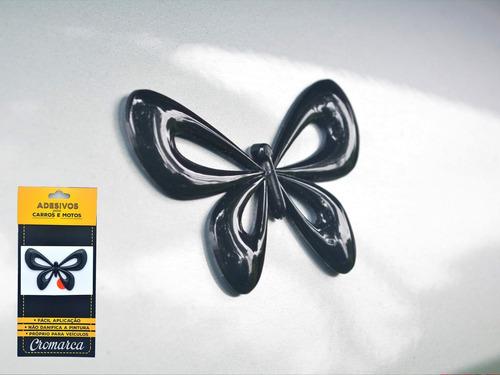 emblema alto relevo 3d 3m auto adesivo borboleta preto
