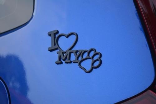 emblema alto relevo 3d 3m auto adesivo i love my dog preto