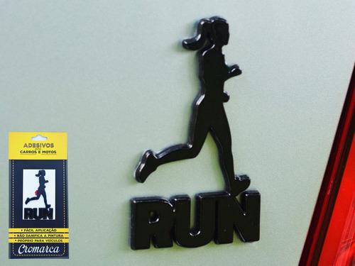 emblema alto relevo 3d 3m auto adesivo run runner fem preto
