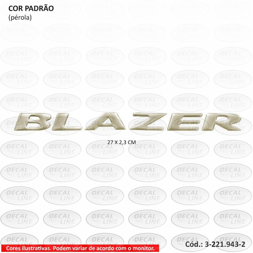 emblema auto adesivo blazer executive 2007 - resinado