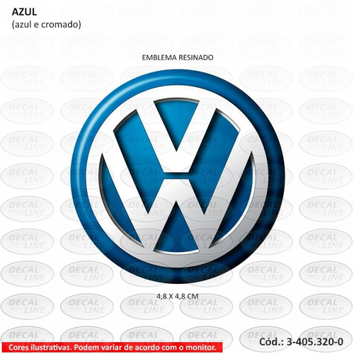 emblema auto adesivo volkswagen para calota - resinado