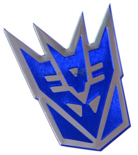 emblema badge em aluminio - decepticon transformers azul