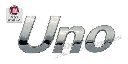 emblema letreiro uno cromado original genuíno fiat