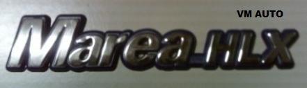 emblema marea hlx cromado com fundo azul linha fiat