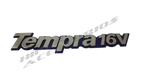 emblema tempra 16v cromado com fundo azul