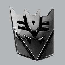 emblema transformers metalico decepticon 3m