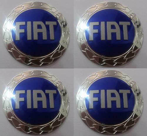 emblemas fiat azul aluminío calota ou roda 55 mm + brinde