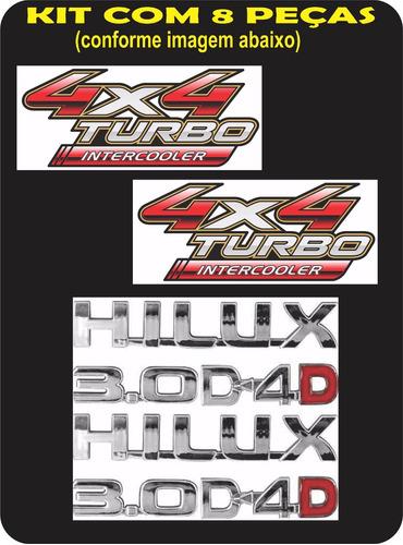 emblemas hilux kit 8 pecas d4-d 3.0 hilux adesivo 4x4