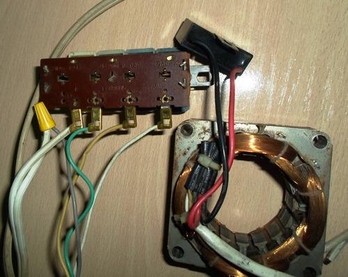 embobinado de ventilador armado con capacitor y selector vel