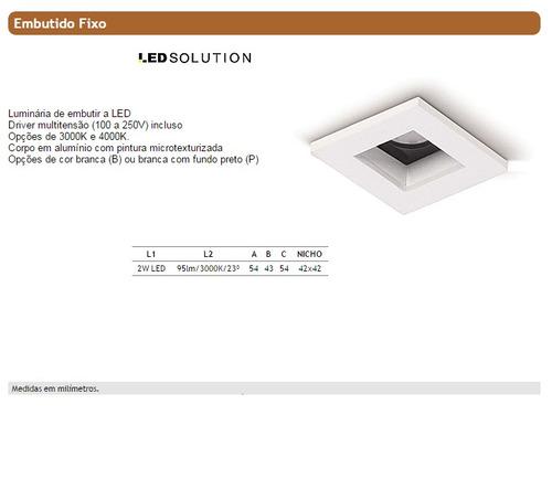 embutido fixo quadrado branco spot led  3000k - ax