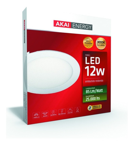embutido led redondo 12w akai interelec macroled 3000/6000k