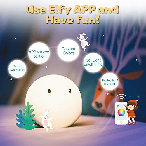 emie elfy led night lights para niños, bpa-free soft sili...