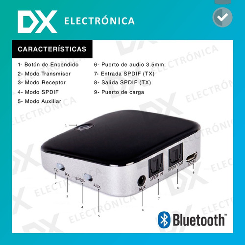 emisor transmisor receptor bluetooth audio tv smart 2