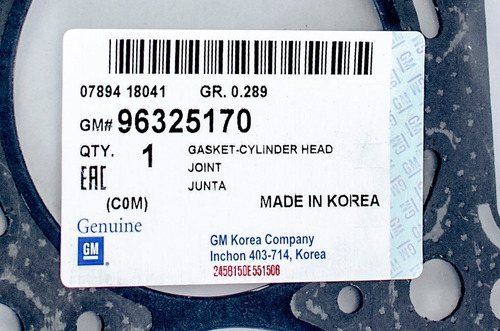 empacadura de camara spark gm-96325170