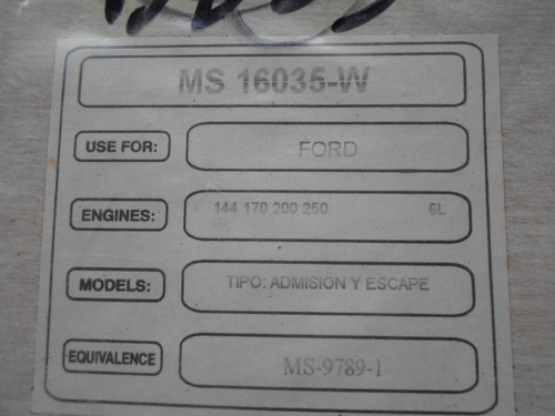 empacadura de multiple ford 144/170/200/250, maverick/zephyr