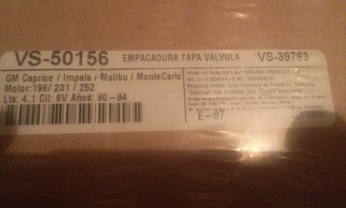 empacadura de tapa válvula gm 196/231/252 mallbu/caprice