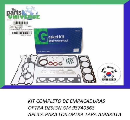 empacadura optra desing gm 93742703 parts-mall kit completo