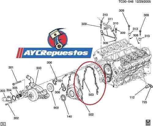 empacadura tapa cadena delantera motor 5.3l vortec original